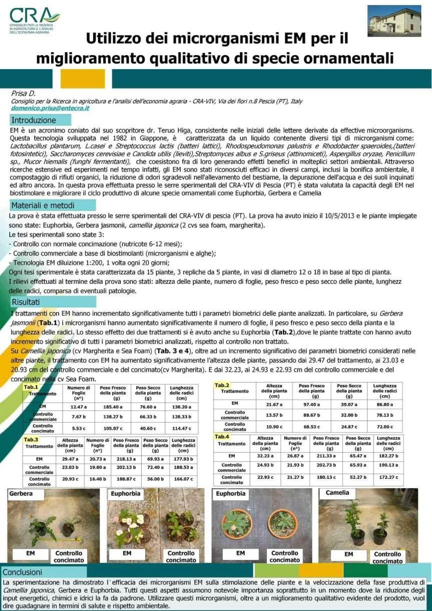 MICRONATURALE: UTILIZZO DEI MICRORGANISMI EM PER IL MIGLIORAMENTO QUALITATIVO DI SPECIEORNAMENTALI