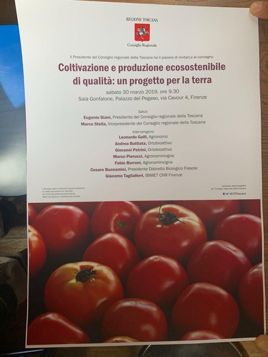 Convegno a Scandicci: Coltivazione e produzione ecosostenibile di qualità, un progetto per laterra