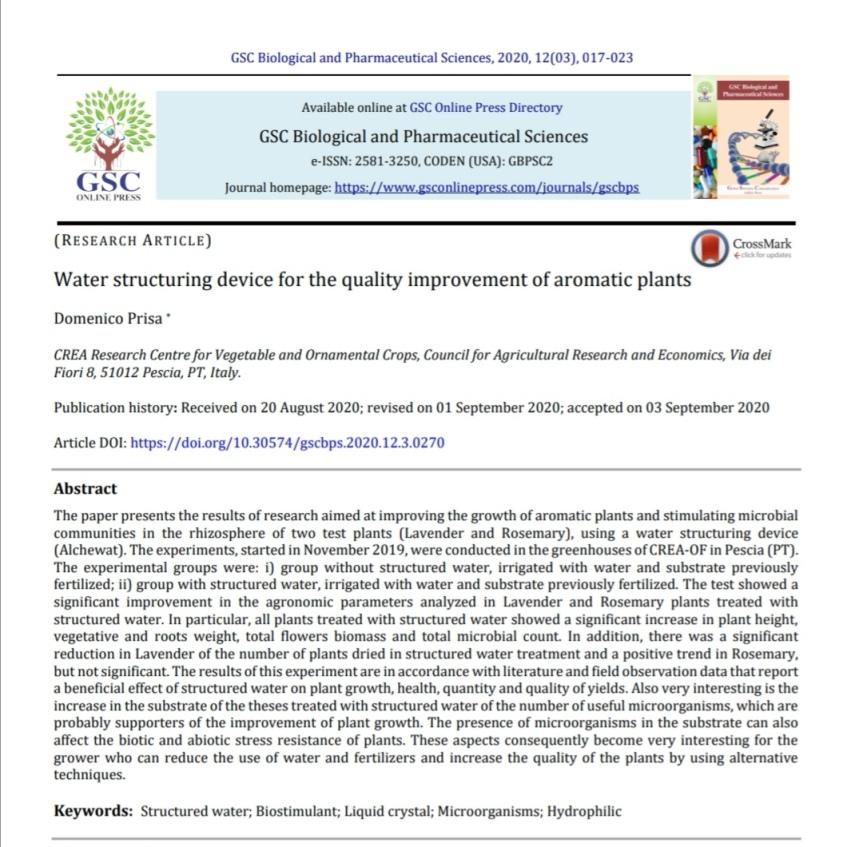 Ricerca: Dispositivo per energizzare l'acqua per il miglioramento della coltivazione di piantearomatiche