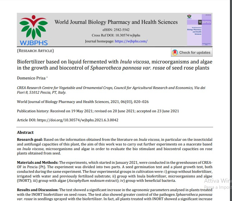 Article: Biofertilizer based on liquid fermented with Inula viscosa, microorganisms and algae in the growth and biocontrol of Sphaerotheca pannosa var. rosae of seed roseplants