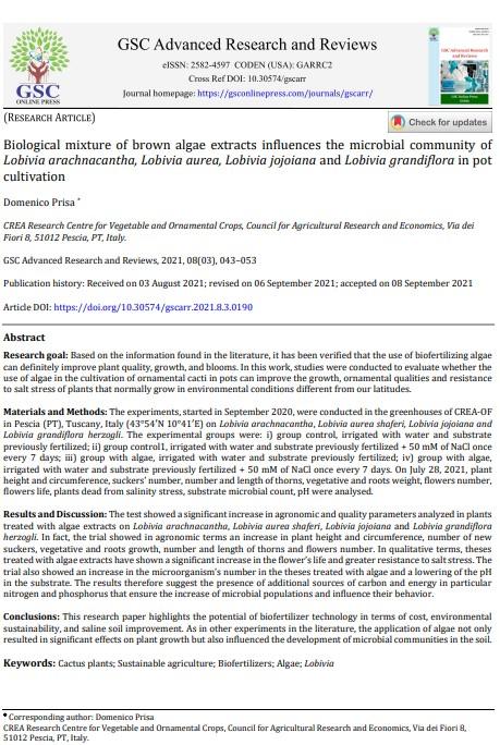 Scientific paper: Biological mixture of brown algae extracts influences the microbial community of Lobivia arachnacantha, Lobivia aurea, Lobivia jojoiana and Lobivia grandiflora in potcultivation