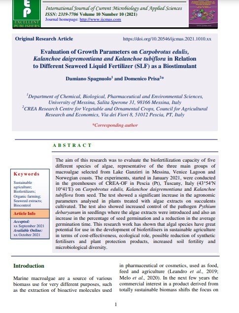 Article: Evaluation of Growth Parameters on Carpobrotus edulis, Kalanchoe daigremontiana and Kalanchoe tubiflora in Relation to Different Seaweed Liquid Fertilizer (SLF) as aBiostimulant